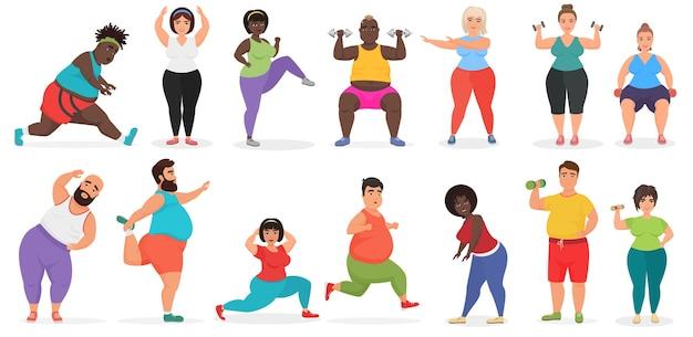 Толстые милые люди делают фитнес-упражнения. тренировка спортзала мужчины и женщины Premium векторы