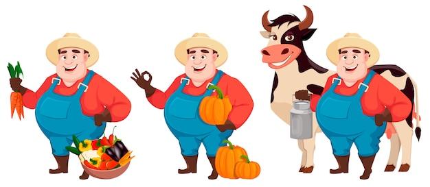 Fat farmer, agronomist, set of three poses Premium Vector