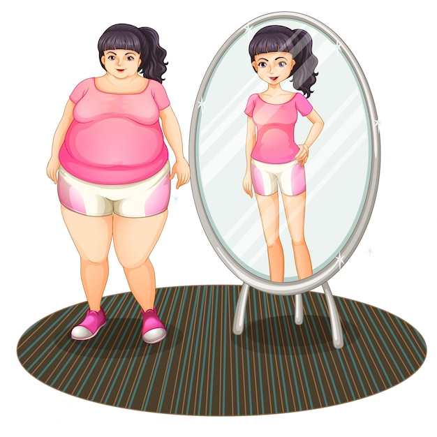 A fat girl and her slim version in the mirror Free Vector