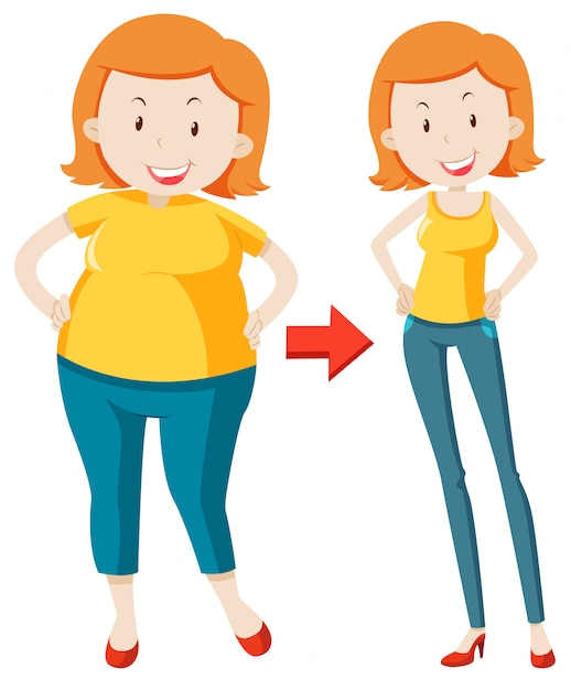 A fat girl losing weight Premium Vector