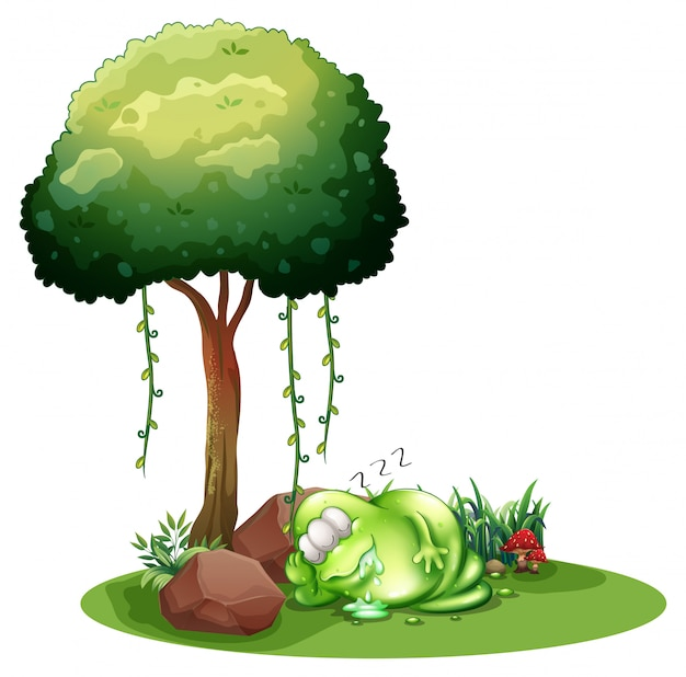 A fat green monster sleeping under the tree Free Vector