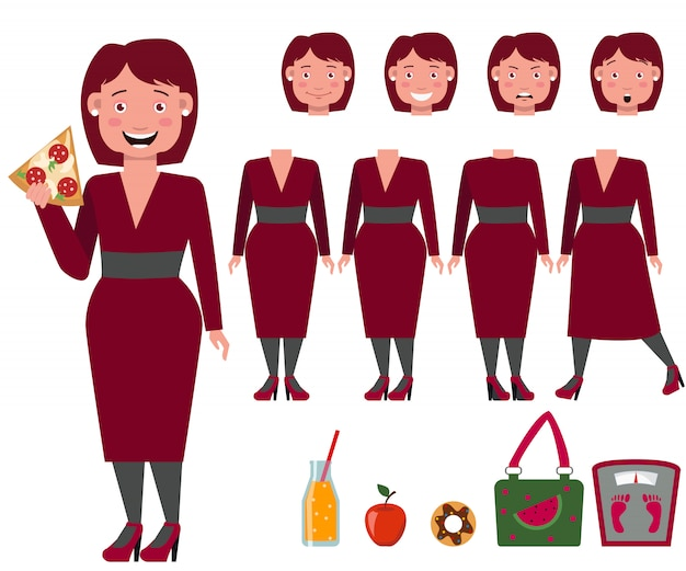 Fat lady in dress eating pizza character set Free Vector