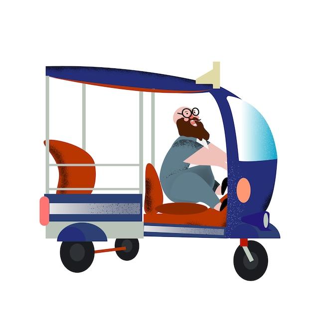 Fat Man Drives A Thai Bus Named Tuk Tuk With Happiness