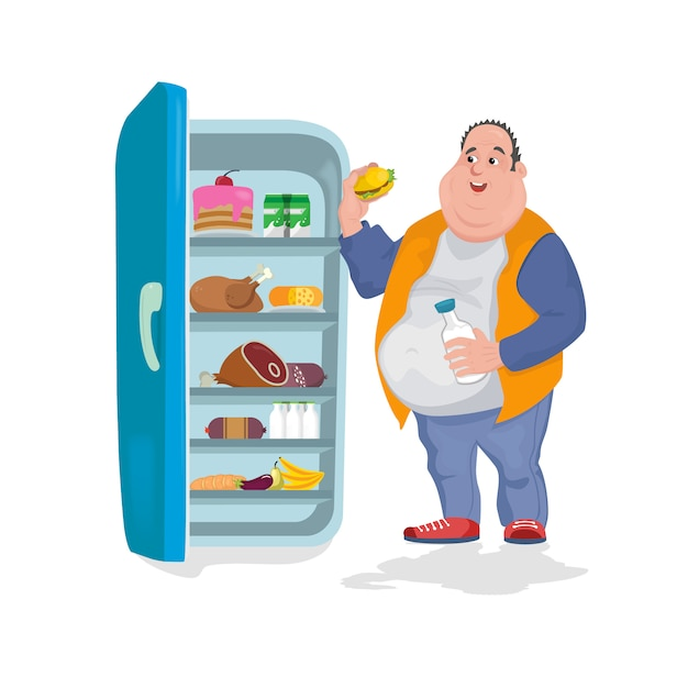 The fat man eats a hamburger in an open refrigerator in which there are many harmful foods Premium Vector