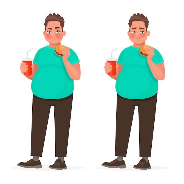 Толстяк, держа в руке гамбургер. полный парень с фаст-фудом. понятие о неправильном питании. ожирение. в мультяшном стиле Premium векторы