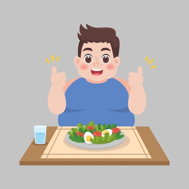 Fat man ready to eat vegetable salad Premium Vector