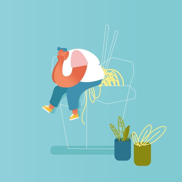 Толстяк сидит на огромной коробке вок с лапшой и палочками для еды. мужской персонаж, посещающий азиатский ресторан с концепцией китайской кухни. спагетти быстрого приготовления. мультфильм квартира Premium векторы