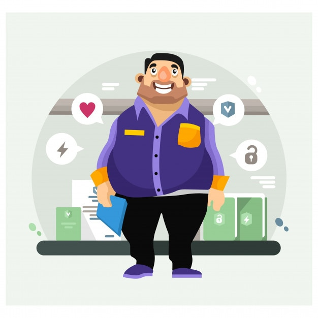 Fat man thinking about something, somewhere in the office cartoon character Premium Vector