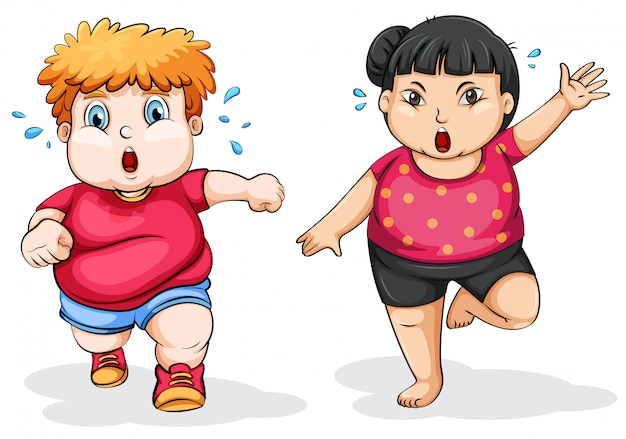 Fat man and woman exercise Free Vector