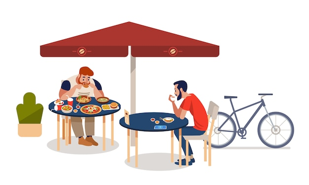 Fat men and athlete sitting at tables and eating different delicious meals. Premium Vector