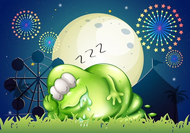 A fat monster sleeping at the carnival Premium Vector