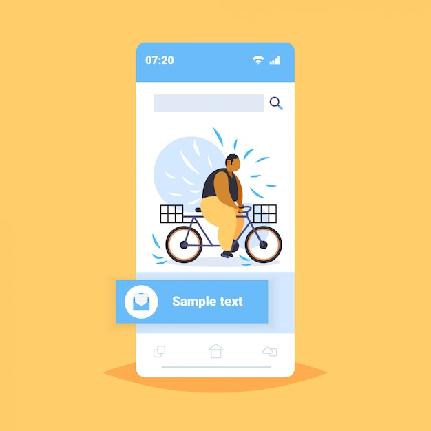 Fat obese man riding bike overweight african american guy cycling bicycle weight loss concept smartphone screen online mobile application Premium Vector