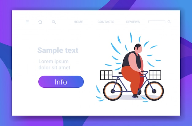 Fat obese man riding bike overweight guy cycling bicycle weight loss concept copy space Premium Vector