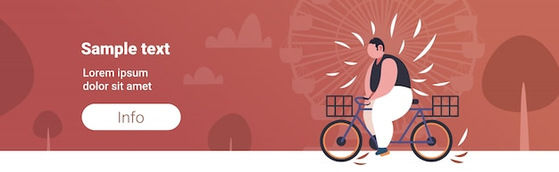 Fat obese man riding bike overweight guy cycling bicycle weight loss concept summer park ferris wheel copy space Premium Vector