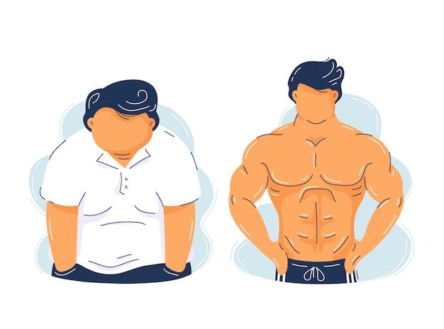뚱뚱한 비만과 강한 체력 근육질의 남자. 유행 평면 그림 문자입니다. 흰색 배경에 고립. 보디 빌딩 근육 성장 전후 개념 프리미엄 벡터