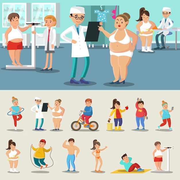 Fat people losing weight collection Free Vector