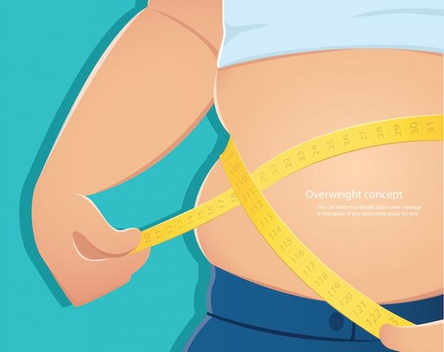 Fat person use scale to measure his waistline vector Premium Vector