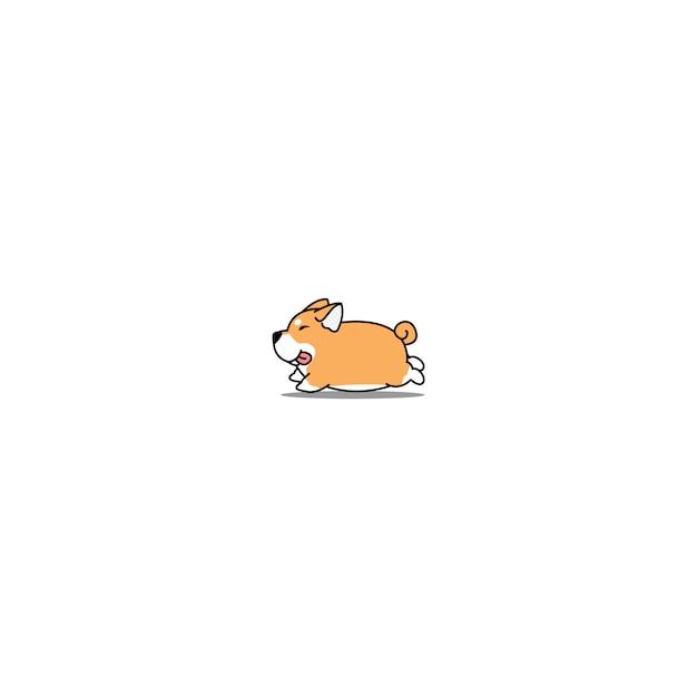 Fat shiba inu dog running cartoon icon Premium Vector