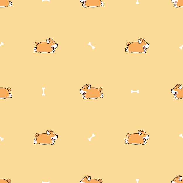 Fat shiba inu dog running cartoon seamless pattern Premium Vector