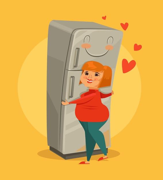 뚱뚱한 여자 포옹 냉장고. 벡터 평면 만화 일러스트 레이션 프리미엄 벡터