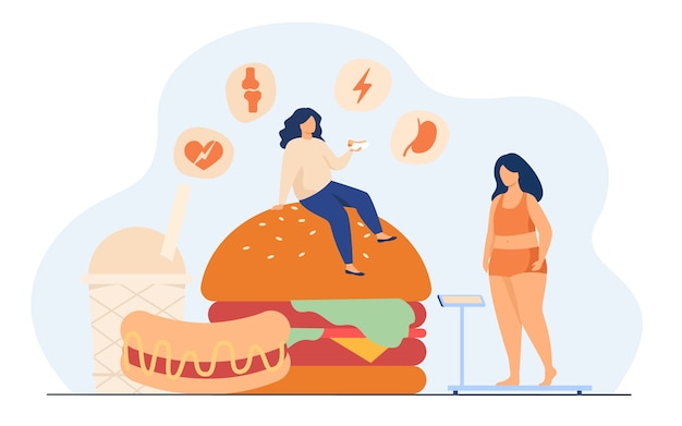 Fat woman keeping unhealthy diet, eating junk food, having high cholesterol and health problem. Free Vector