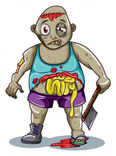 Uno zombi grasso Vettore gratuito