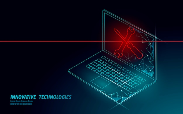 Fatal computer system crash. software error bug data lost. computer service repair help business concept.  laptop virus attack information security alert  illustration. Premium Vector