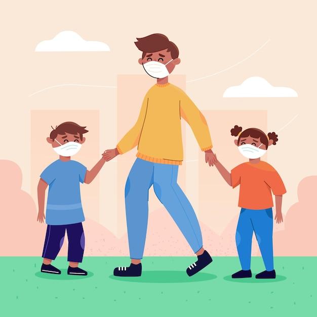 Отец и братья и сестры проводят время на свежем воздухе Бесплатные векторы