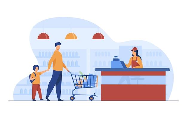 スーパーマーケットで食べ物を買う父と息子。キャッシャー、トロリー、フラットベクトルイラストを保存します。ショッピングと食料品店のコンセプト 無料ベクター