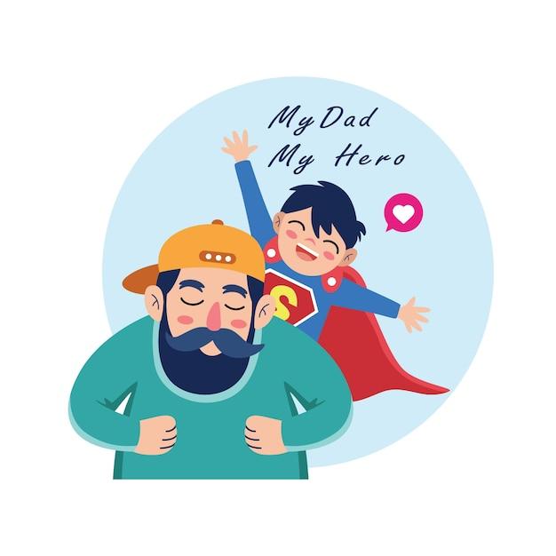 父の日を祝う父と息子の漫画 Premiumベクター