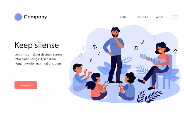 Father asking kids to keep silence. website template or landing page Free Vector