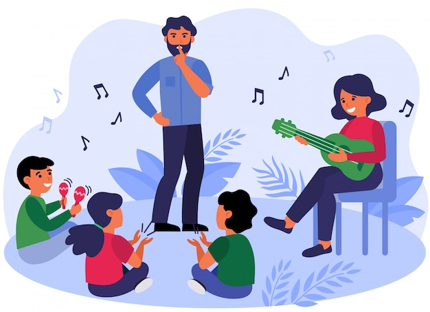 Father asking kids to keep silence Free Vector