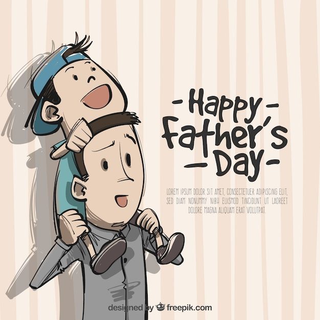 Father background with his son on shoulders Free Vector
