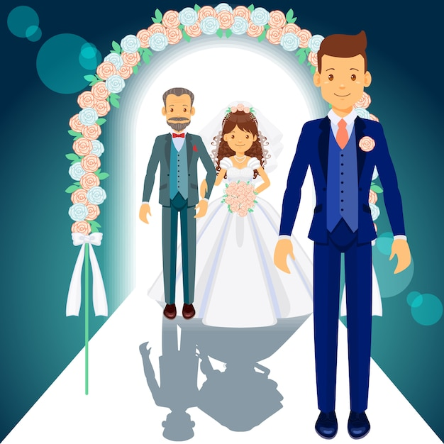 Father of the bride, bride and groom Premium Vector