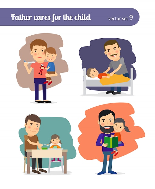 Father cares for the child. Premium Vector