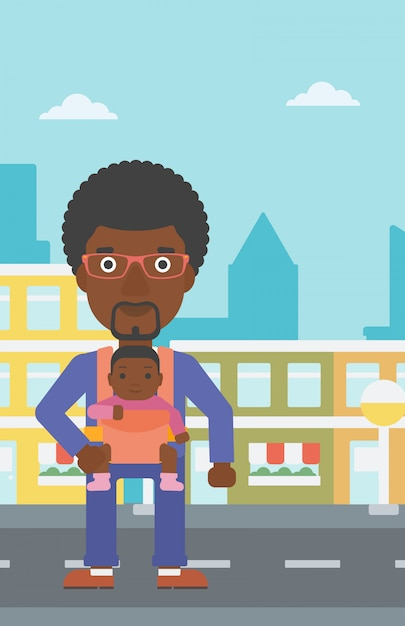 Father carrying his daughter in sling. Premium Vector