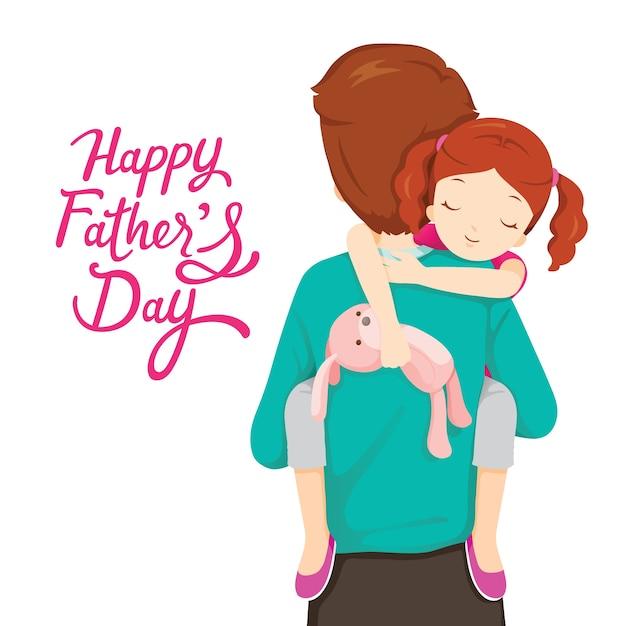 眠っている娘を運ぶ父、幸せな父の日 Premiumベクター