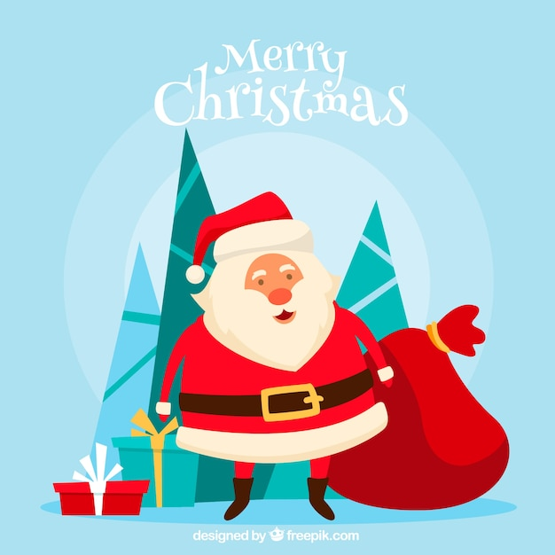Father Christmas Images Free.Father Christmas With A Sack Of Presents Vector Free Download