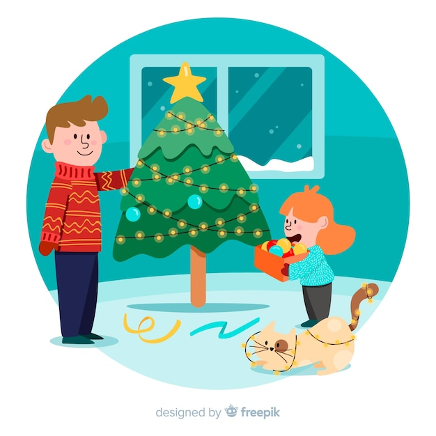 Father and daughter decorating christmas tree Free Vector