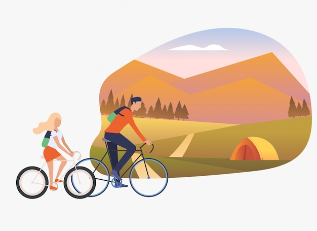 Father and daughter riding bicycles, landscape with tent Free Vector