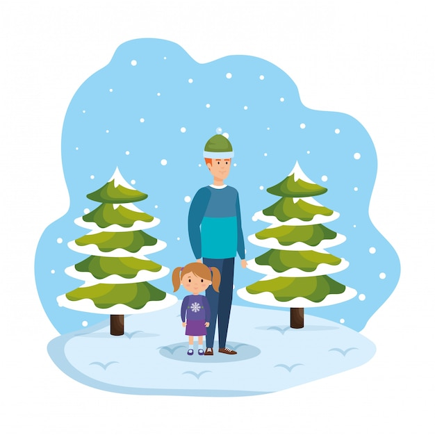 Father and daughter in snowscape Premium Vector