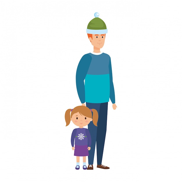 Father and daughter with christmas clothes Premium Vector