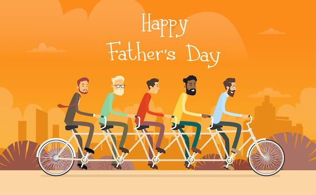 Father day holiday, man group generation ride tandem bicycle Premium Vector