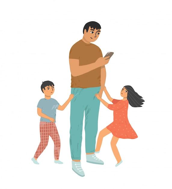 父は息子と娘に注意を払いません。忙しい親が電話を見て、彼の子供たちは手を引いて、自分に注意を向けます。子供たちは動揺しています。インターネット中毒の概念。 Premiumベクター