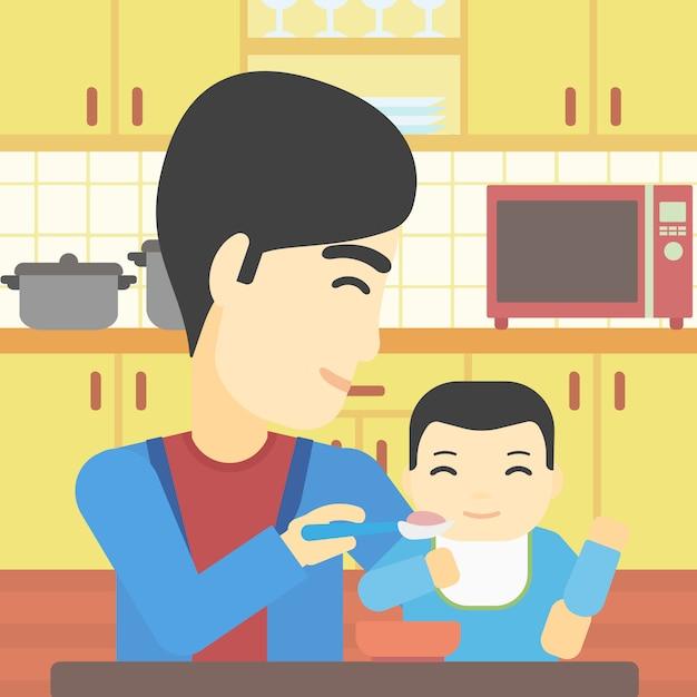 Father feeding baby vector illustration. Premium Vector