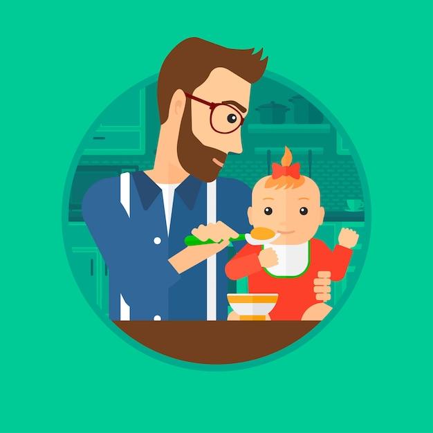 Father feeding baby. Premium Vector