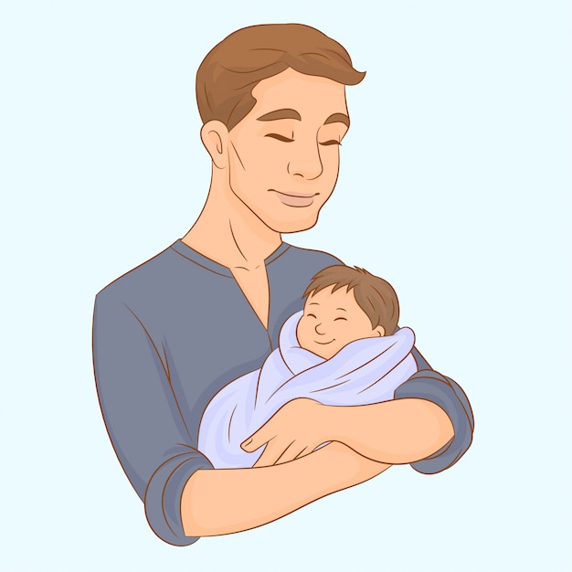 Father holds his newborn baby in his arms Premium Vector