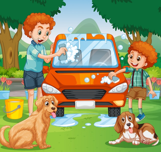 Father and kid washing car in the park Premium Vector