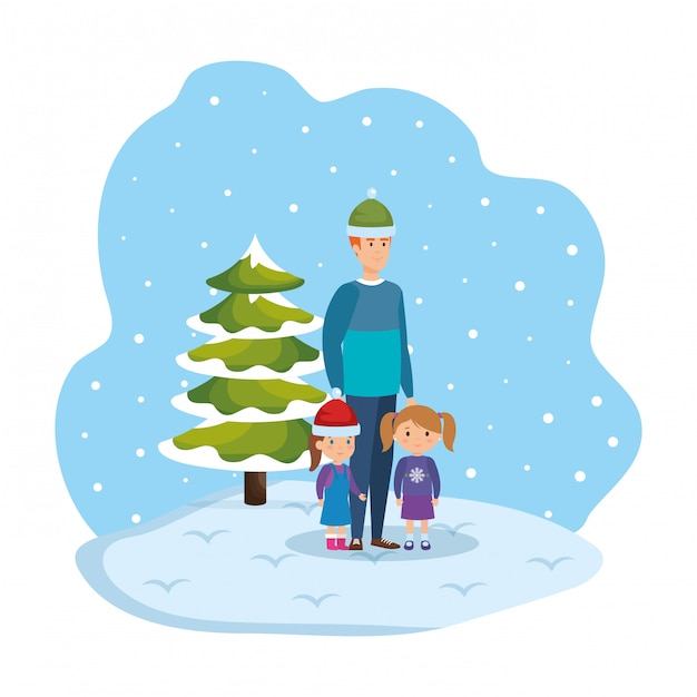 Father and kids in snowscape Premium Vector