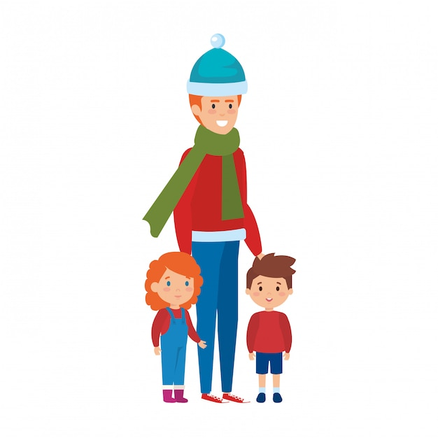 Father and kids with christmas clothes Premium Vector